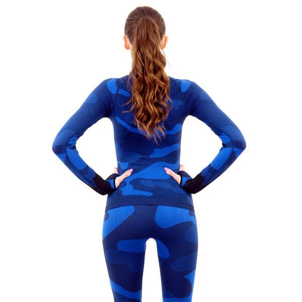Дамска термо блуза с дълъг ръкав марка KSPORT цвят тъмносин камуфлаж - снимка 4