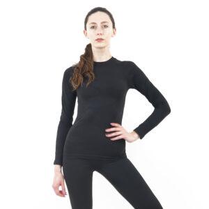 Дамска термо блуза с дълъг ръкав цвят тъмносиво комо - снимка 1