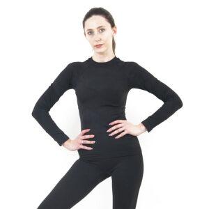 Дамска термо блуза с дълъг ръкав цвят тъмносиво комо - снимка 2