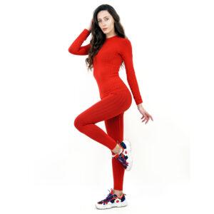 Термо бельо марка KSPORT дамски комплект червен цвят - снимка 1
