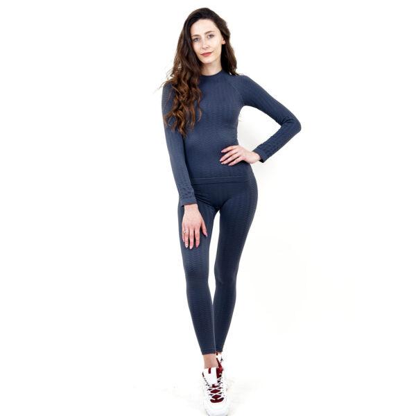 Термо бельо марка KSPORT дамски комплект сив цвят - снимка 1