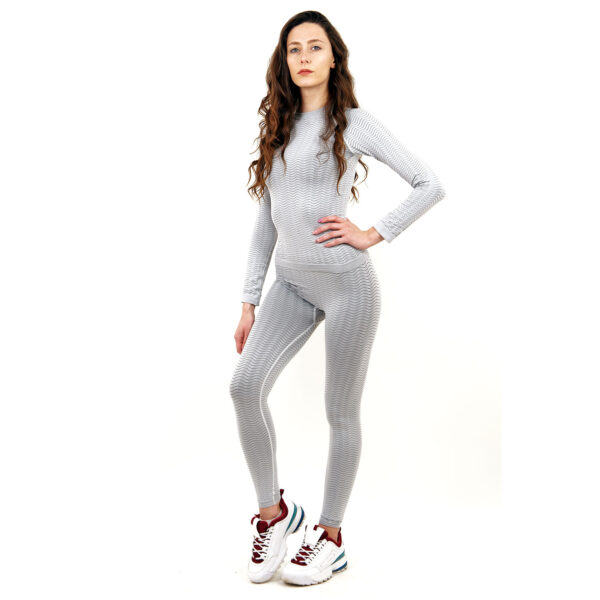 Термо бельо марка KSPORT дамски комплект цвят светлосив - снимка 3