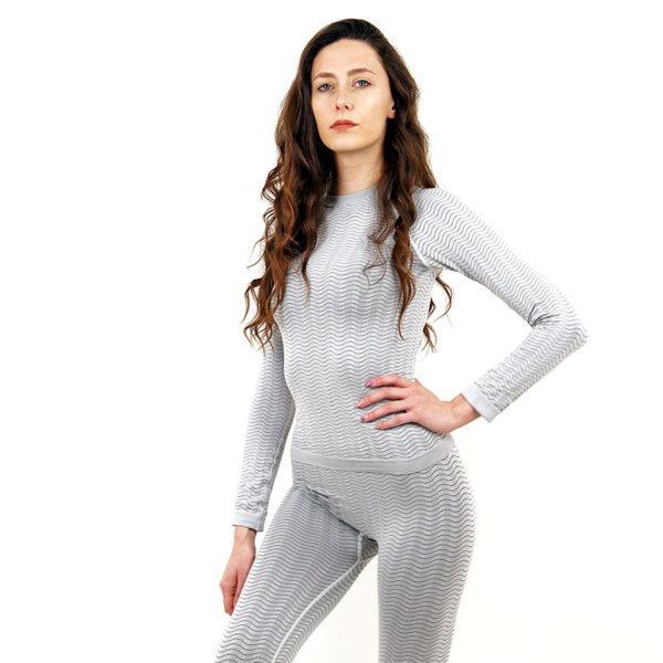 Термо блуза марка KSPORT дамски модел светлосив цвят - снимка 2