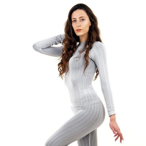 Термо блуза марка KSPORT дамски модел светлосив цвят - снимка 3