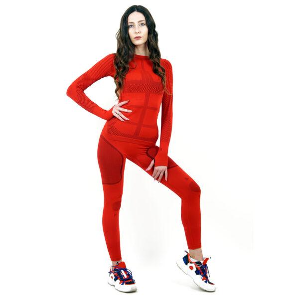 Термо комплект дамски марка KSPORT серия KPROTERM червен цвят - снимка 1