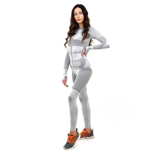 Термо комплект дамски марка KSPORT серия KPROTERM цвят светло сив - снимка 1