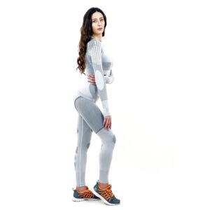 Термо комплект дамски марка KSPORT серия KPROTERM цвят светло сив - снимка 3