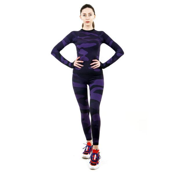 Термо комплект дамски марка KSPORT в цвят лилав комуфлаж - снимка 3