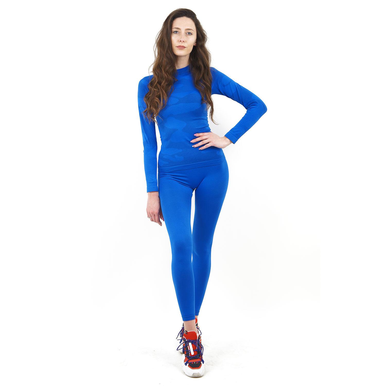 Термо комплект дамски марка KSPORT цвят синьо комо - снимка 1