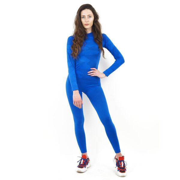 Термо комплект дамски марка KSPORT цвят синьо комо - снимка 2