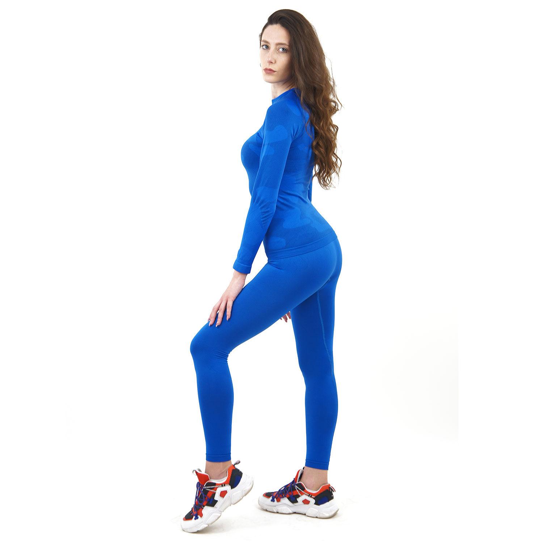 Термо комплект дамски марка KSPORT цвят синьо комо - снимка 3