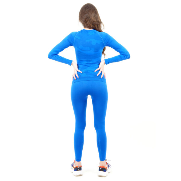 Термо комплект дамски марка KSPORT цвят синьо комо - снимка 4