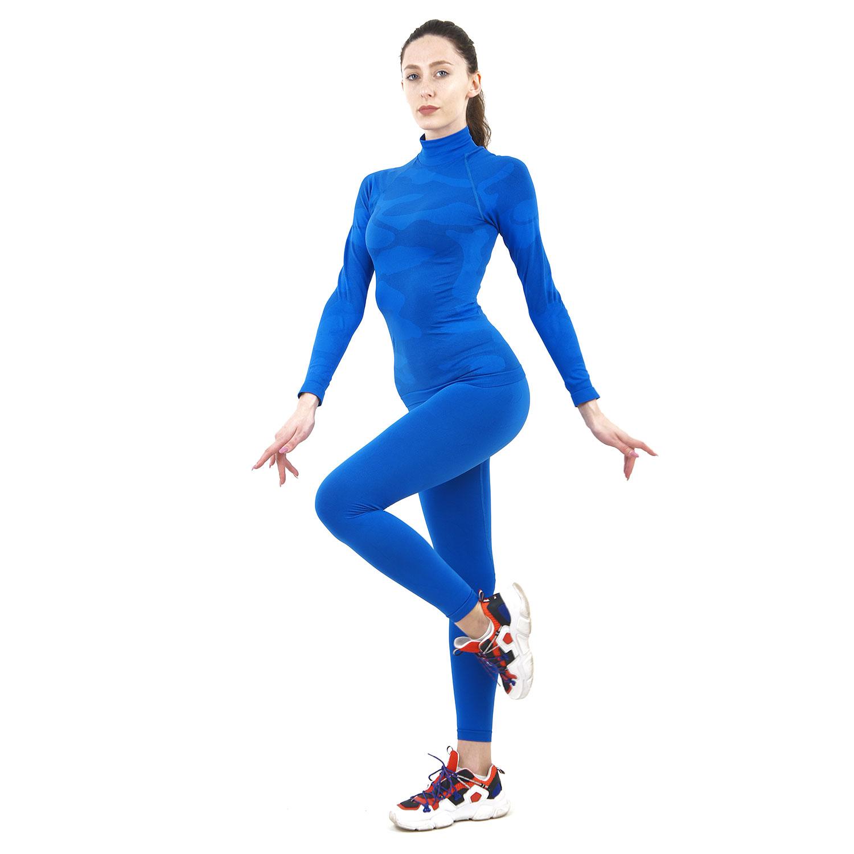 Термо комплект дамски марка KSPORT цвят синьо комо с поло яка - снимка 1
