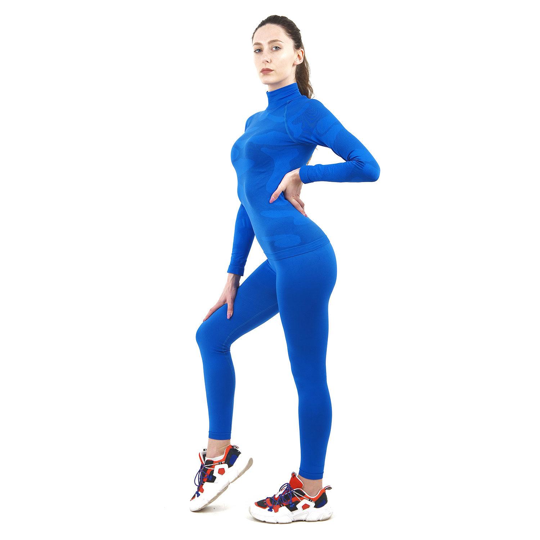 Термо комплект дамски марка KSPORT цвят синьо комо с поло яка - снимка 2