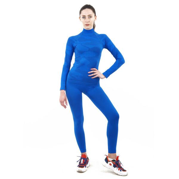 Термо комплект дамски марка KSPORT цвят синьо комо с поло яка - снимка 3