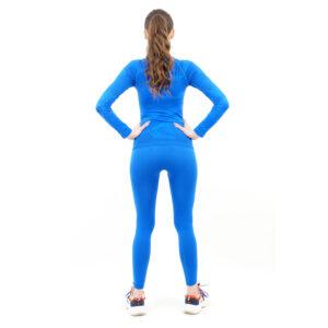 Термо комплект дамски марка KSPORT цвят синьо комо с поло яка - снимка 4