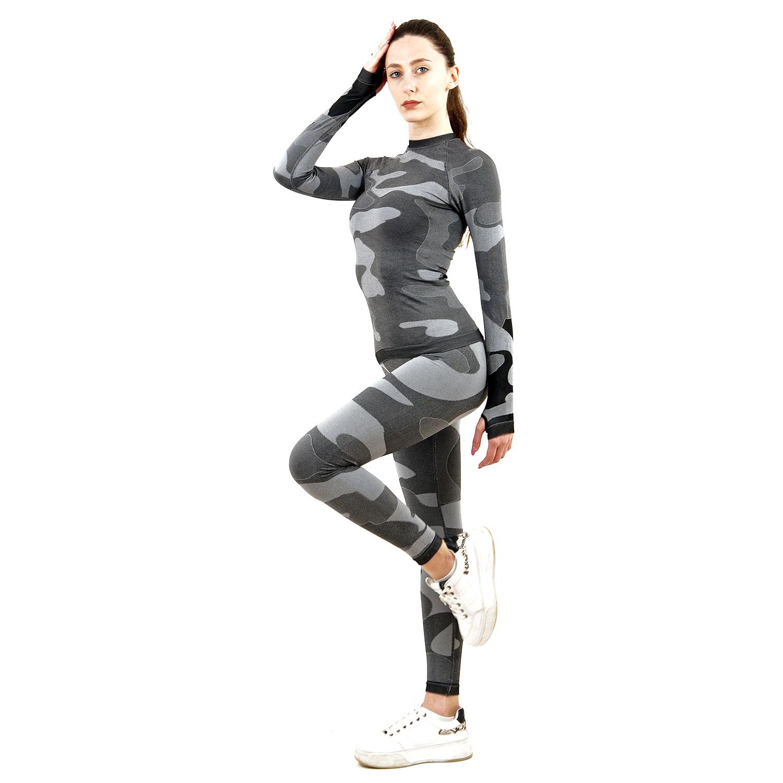 Термо комплект дамски марка KSPORT цвят сив камуфлаж - снимка 1