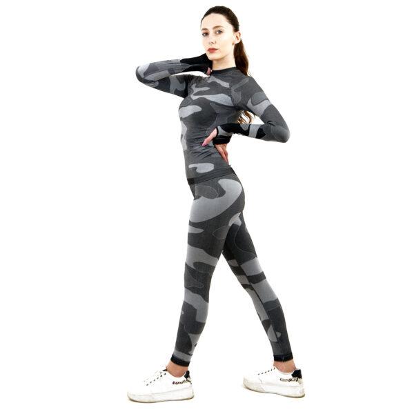 Термо комплект дамски марка KSPORT цвят сив камуфлаж - снимка 2