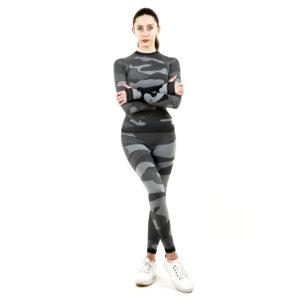 Термо комплект дамски марка KSPORT цвят сив камуфлаж - снимка 3