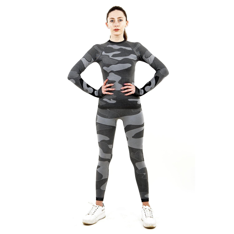 Термо комплект дамски марка KSPORT цвят сив камуфлаж - снимка 4