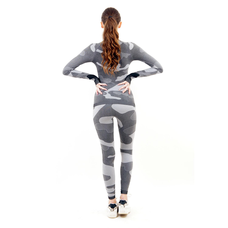 Термо комплект дамски марка KSPORT цвят сив камуфлаж - снимка 5