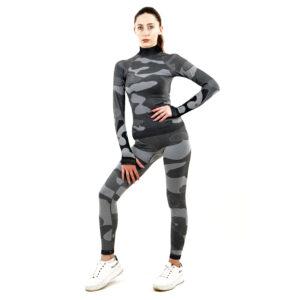 Термо комплект дамски с поло яка марка KSPORT цвят сив камуфлаж - снимка 2