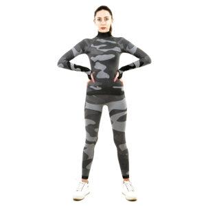 Термо комплект дамски с поло яка марка KSPORT цвят сив камуфлаж - снимка 3