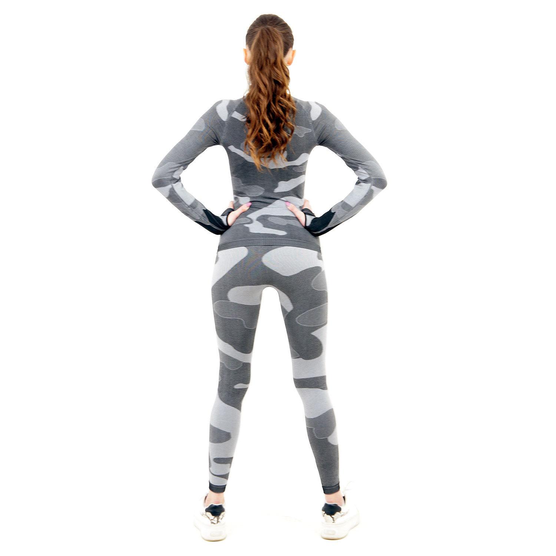 Термо комплект дамски с поло яка марка KSPORT цвят сив камуфлаж - снимка 4