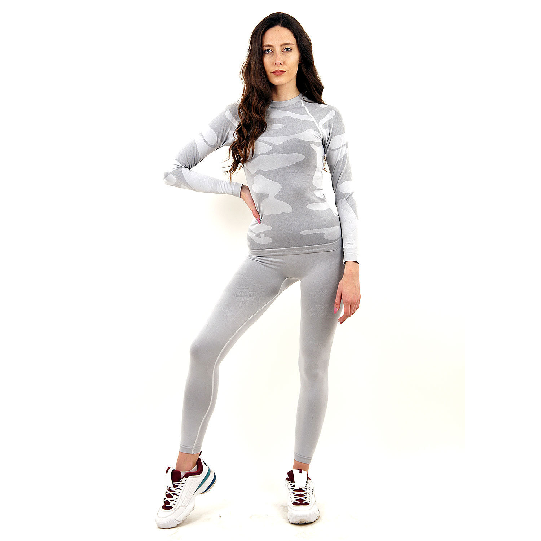 Термо комплект дамски марка KSPORT цвят светлосив камуфлаж - снимка 2