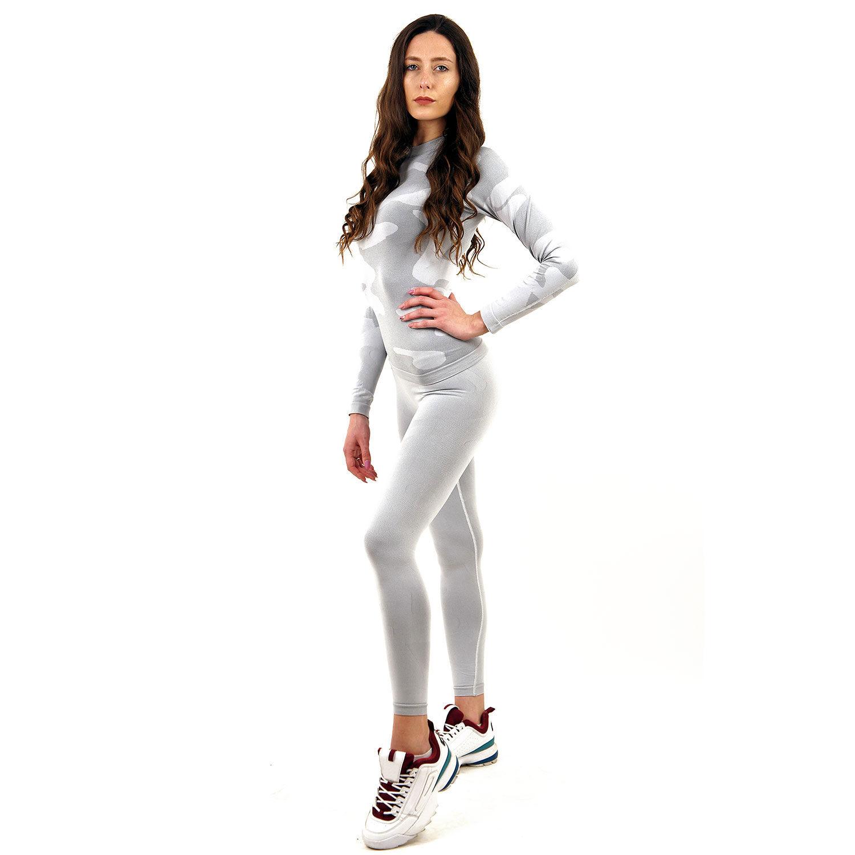 Термо комплект дамски марка KSPORT цвят светлосив камуфлаж - снимка 3