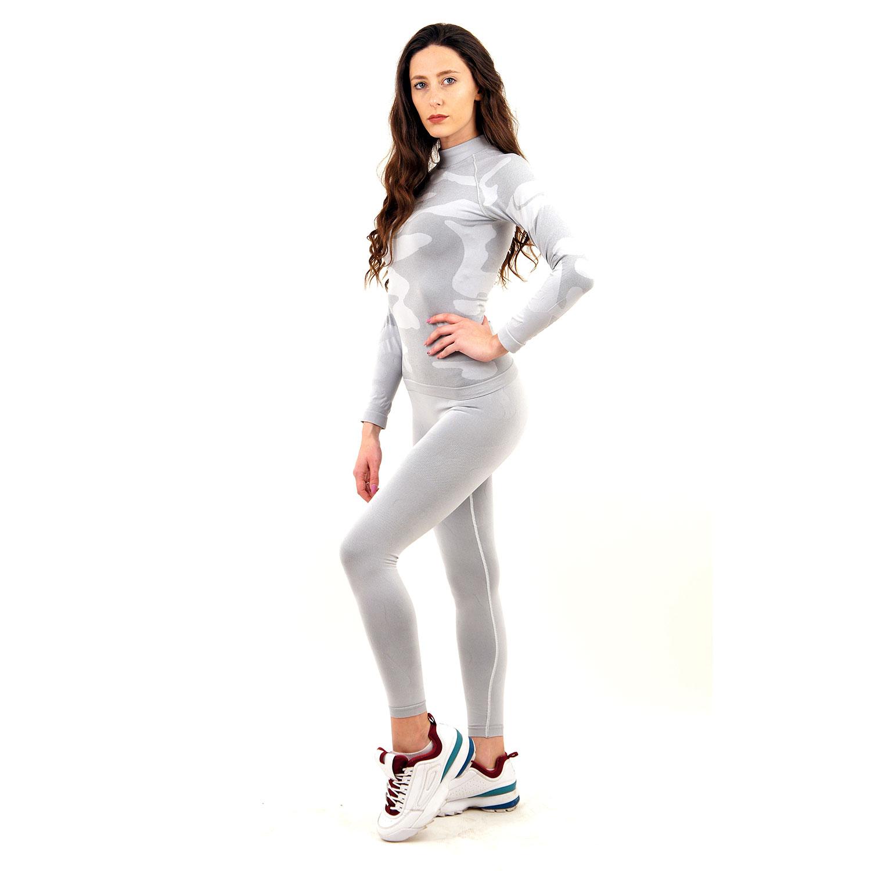 Термо комплект дамски с поло яка марка KSPORT цвят светлосив камуфлаж - снимка 1