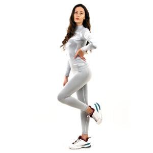 Термо комплект дамски с поло яка марка KSPORT цвят светлосив камуфлаж - снимка 2