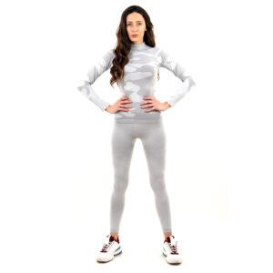 Термо комплект дамски с поло яка марка KSPORT цвят светлосив камуфлаж - снимка 3