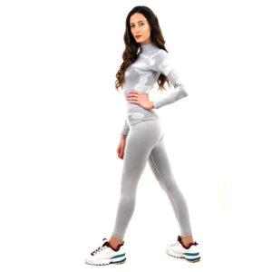 Термо комплект дамски с поло яка марка KSPORT цвят светлосив камуфлаж - снимка 4