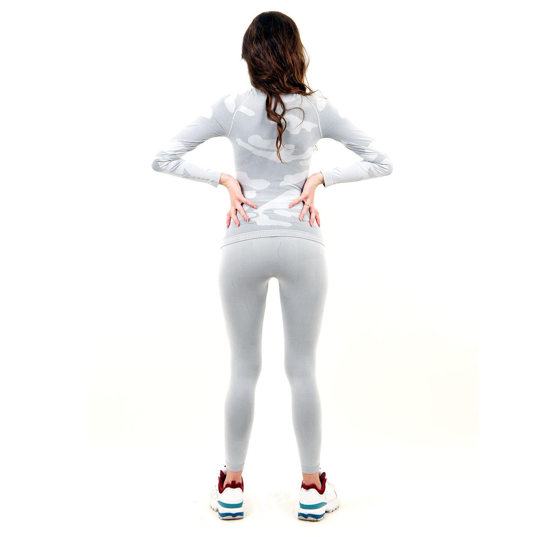Термо комплект дамски с поло яка марка KSPORT цвят светлосив камуфлаж - снимка 5