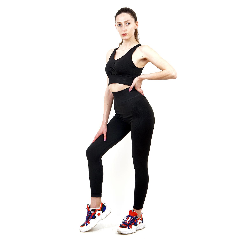 Термо комплект дамски KSPORT серия KFIT бюстие с клин черен цвят - снимка 1
