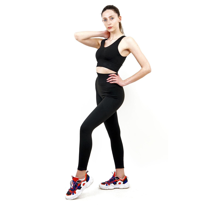 Термо комплект дамски KSPORT серия KFIT бюстие с клин черен цвят - снимка 3