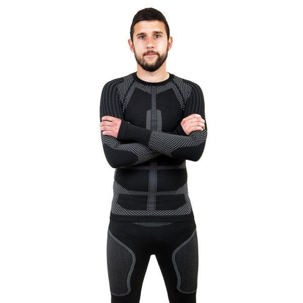 Термо блуза мъжка марка KSPORT серия KPROTERM черен цвят - снимка 2