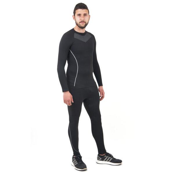 Термо бельо марка KSPORT мъжки комплект черен цвят - снимка 3