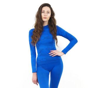 Дамска термо блуза с дълъг ръкав марка KSPORT цвят синьо комо - снимка 2