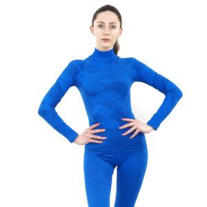 Дамска термо блуза с дълъг ръкав и поло яка марка KSPORT цвят синьо комо - снимка 1
