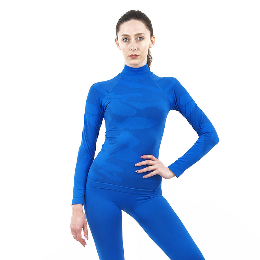 Дамска термо блуза с дълъг ръкав и поло яка марка KSPORT цвят синьо комо - снимка 2