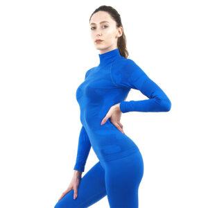 Дамска термо блуза с дълъг ръкав и поло яка марка KSPORT цвят синьо комо - снимка 3