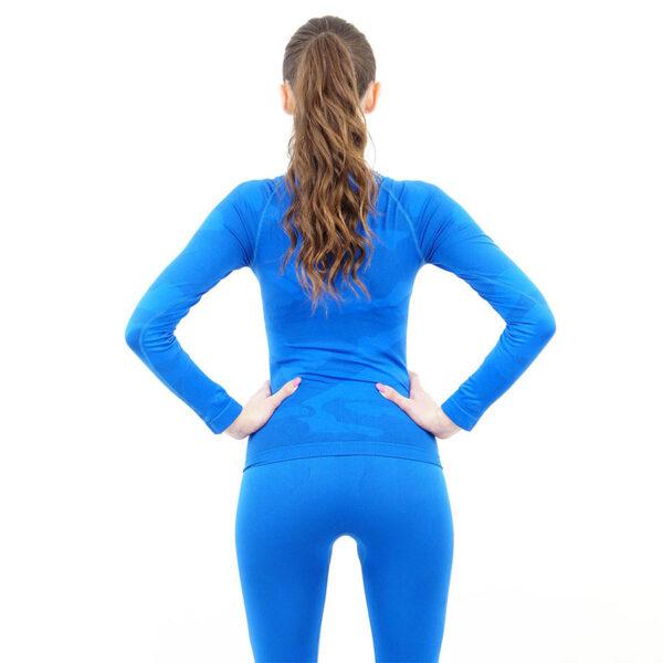 Дамска термо блуза с дълъг ръкав и поло яка марка KSPORT цвят синьо комо - снимка 4