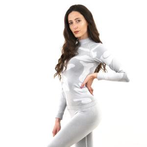 Дамска термо блуза с дълъг ръкав и поло яка цвят светлосив камуфлаж - снимка 1