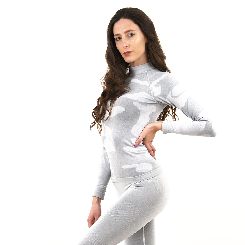 Дамска термо блуза с дълъг ръкав и поло яка марка KSPORT цвят светлосив камуфлаж - снимка 1