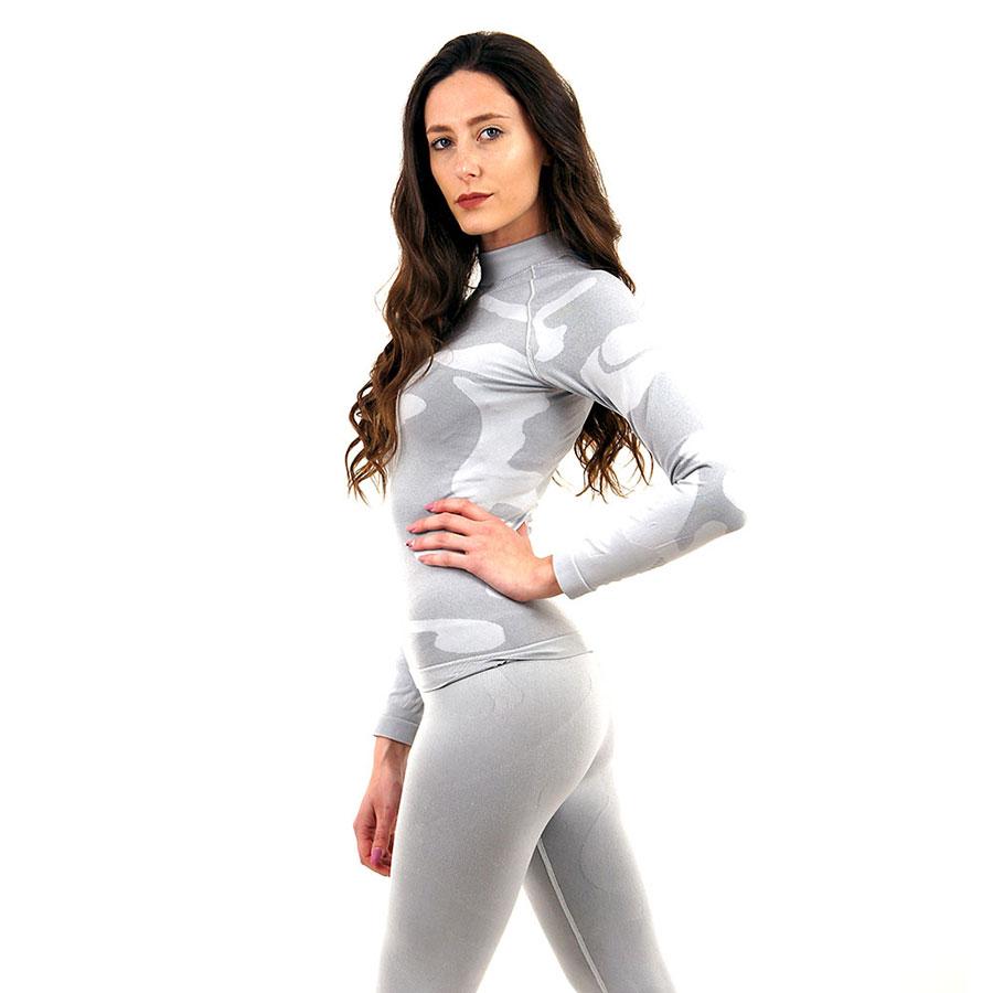 Дамска термо блуза с дълъг ръкав и поло яка марка KSPORT цвят светлосив камуфлаж - снимка 3