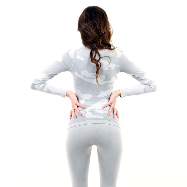 Дамска термо блуза с дълъг ръкав и поло яка марка KSPORT цвят светлосив камуфлаж - снимка 4