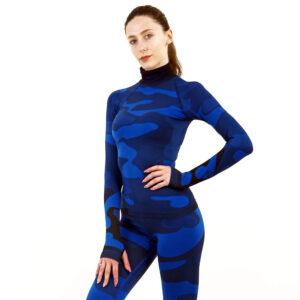 Дамска термо блуза с дълъг ръкав и поло яка цвят тъмносин камуфлаж - снимка 1