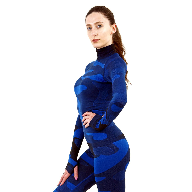 Дамска термо блуза с дълъг ръкав и поло яка марка KSPORT цвят тъмносин камуфлаж - снимка 2